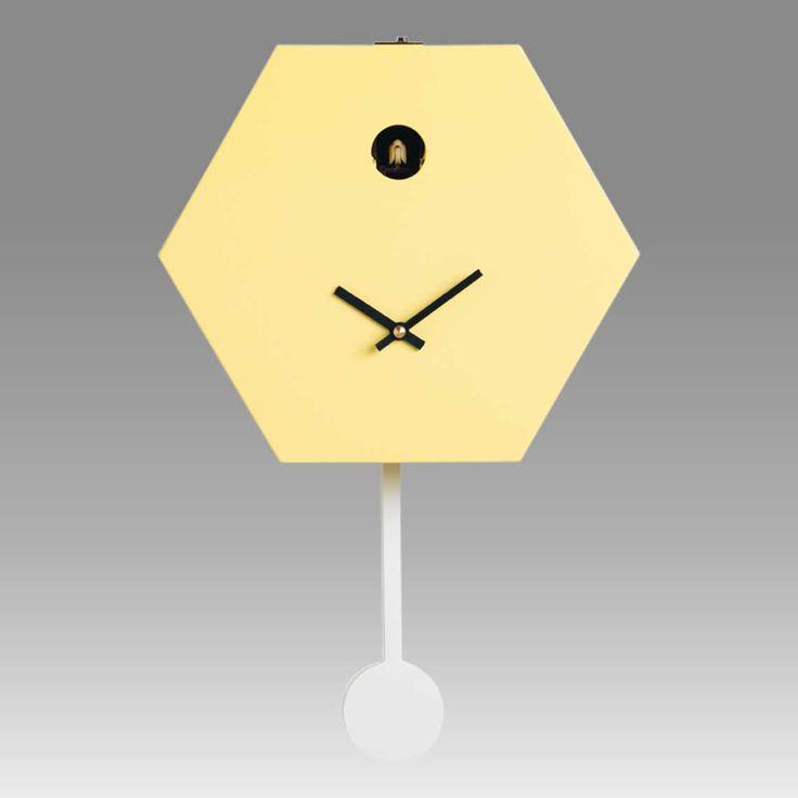 Contemporary cuckoo clock Art.honey 2600 lacquered with acrilic color yellow lemon