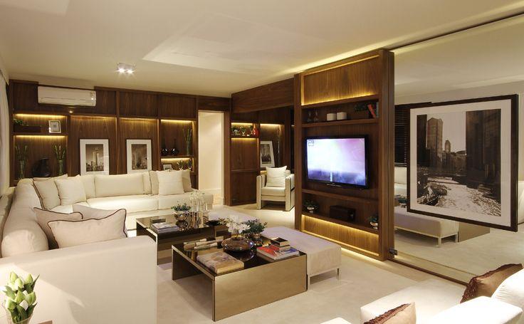 Quarto Vira Sala De Tv ~  utilizadas nos adornos e do painel de madeira c…  Pinteres
