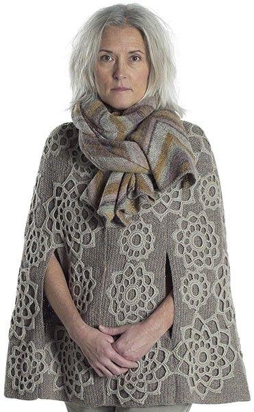 Gray crochet motifs appliquéd on gray knit cape. Tørklæde 5 - Tilbehør - Tine Rousing / Lone Gissel