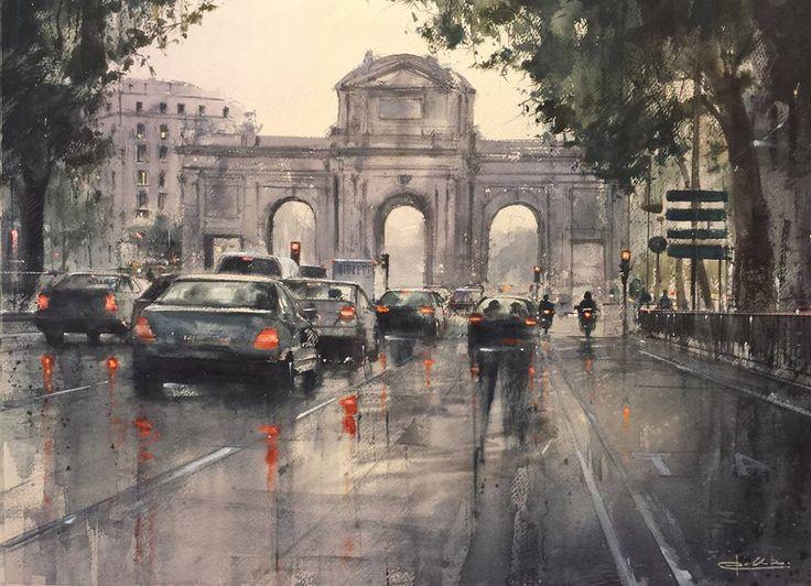 "Pablo Rubén López Sanz ""Alcalá"" Acuarela / Watercolor/ Daniel Smith Colors 50 x 70 cm."