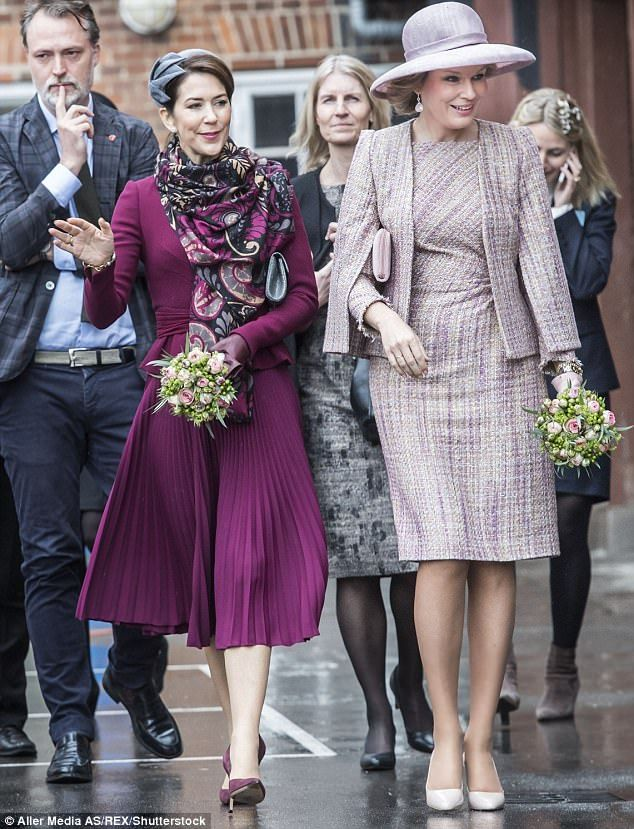 On Wednesday, Crown Princess Mary of Denmark visited a school with Queen Mathilde of Belgi...