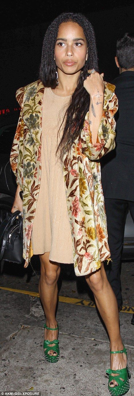 Rising star: Zoe Kravitz, daughter of Lenny, sported an usually feminine outfit rather tha...