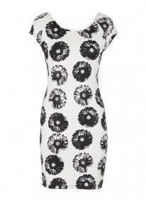 Daisy-print Bodycon Dress Black/White