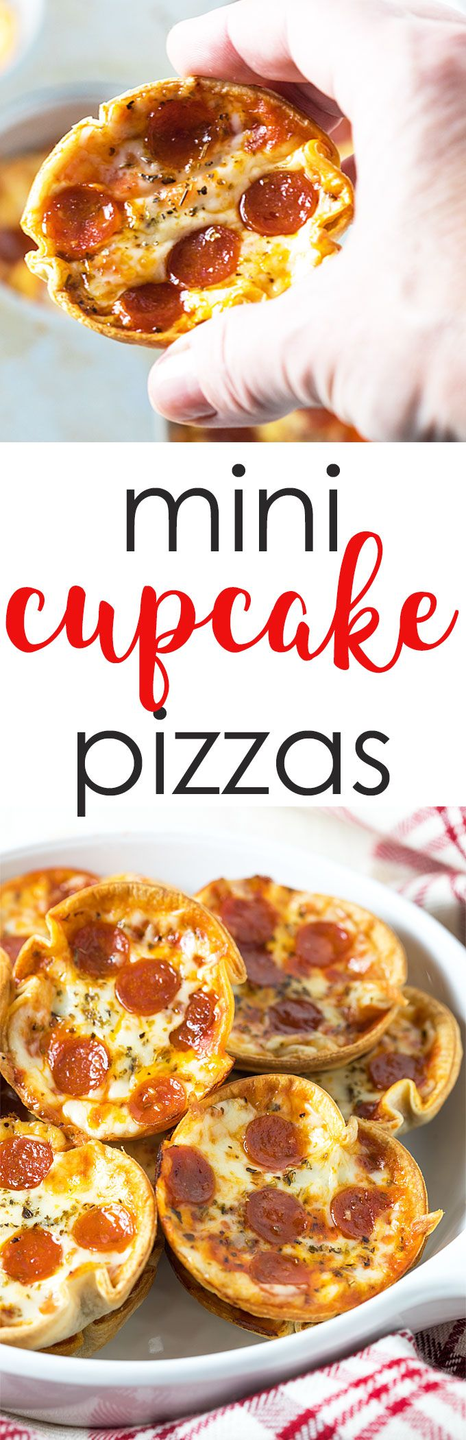 These 5-ingredient mini cupcake pizzas are an easy appetizer or dinner ready in just 20 minutes! #pizza