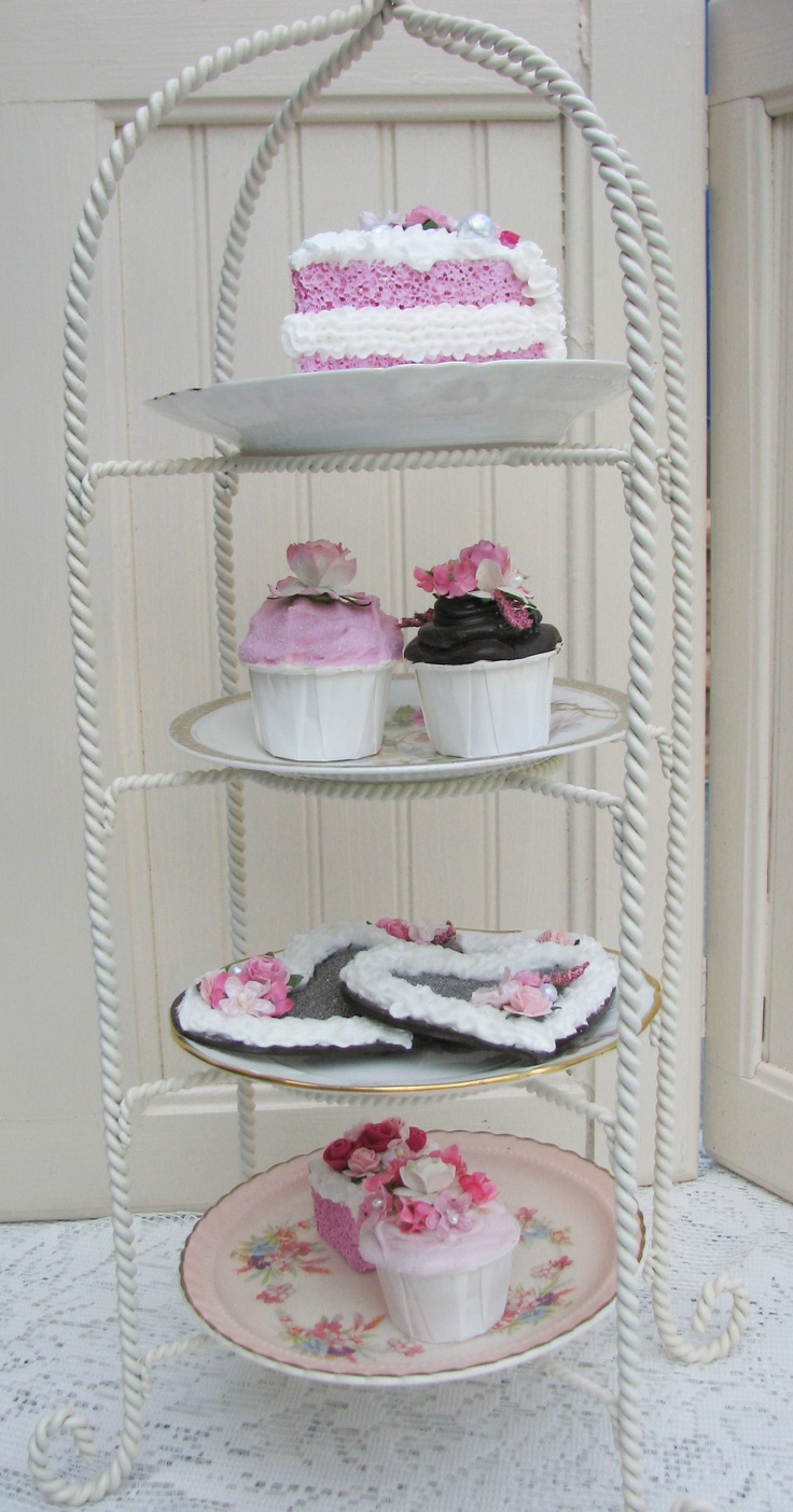 Tea Stand with Faux DessertsTeas Stands, Faux Chocolates, Teas Cupspot, Cups Pots Decor, Teas Cups Pots, Faux Confections, Faux Desserts