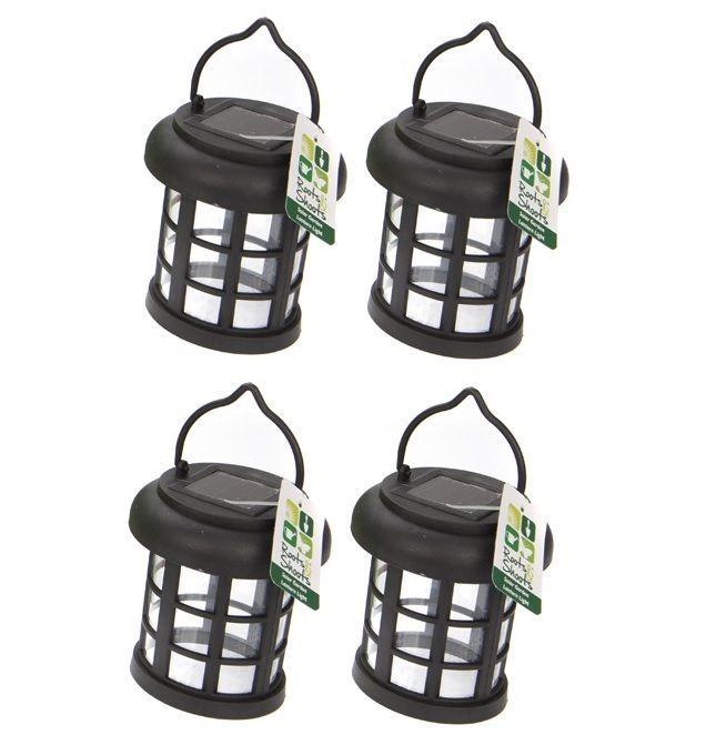 4x Jardin énergie solaire Suspendu Lumière LED Éclairage Extérieur Noir Arbre