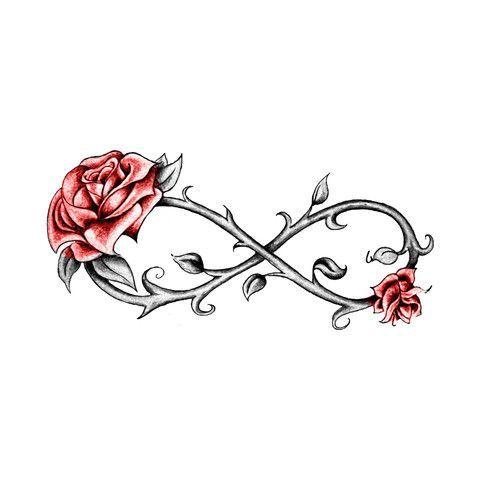 modele tatouage infini dessin avec 2 roses rouges et epines