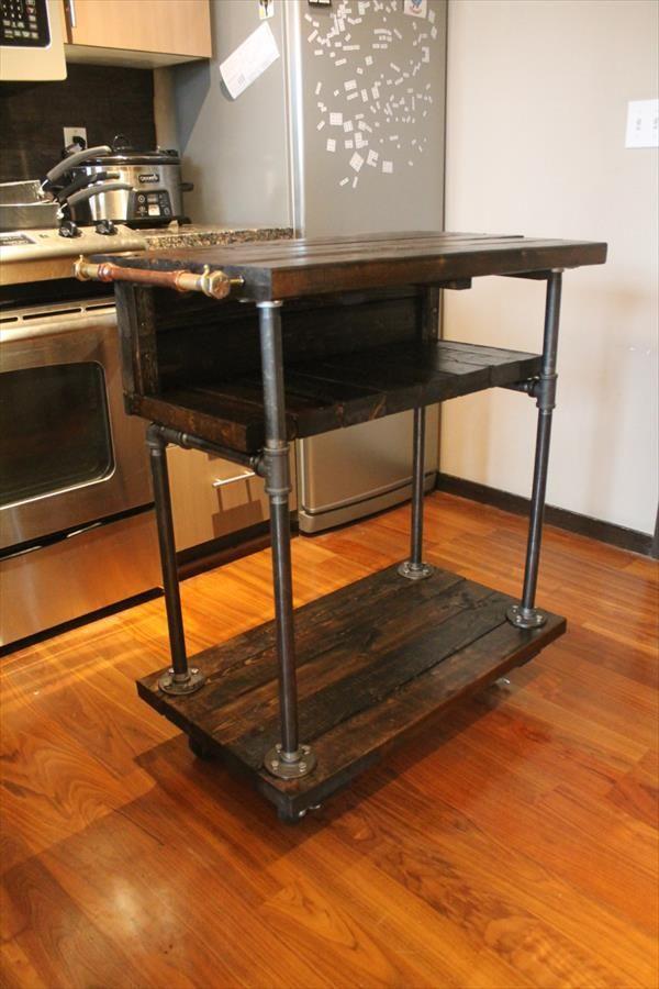 The Diy Pallet Kitchen Cart On Wheels Pallets Regarding Kitchen Table Cart Plan