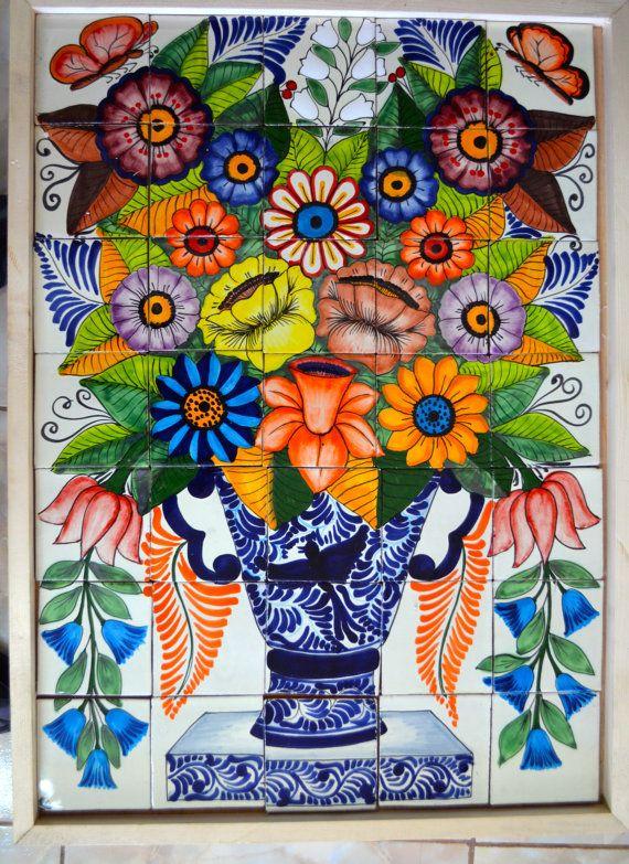 35 Pieces Mexican Tile Wall Mural Artesan 237 A Mexicana