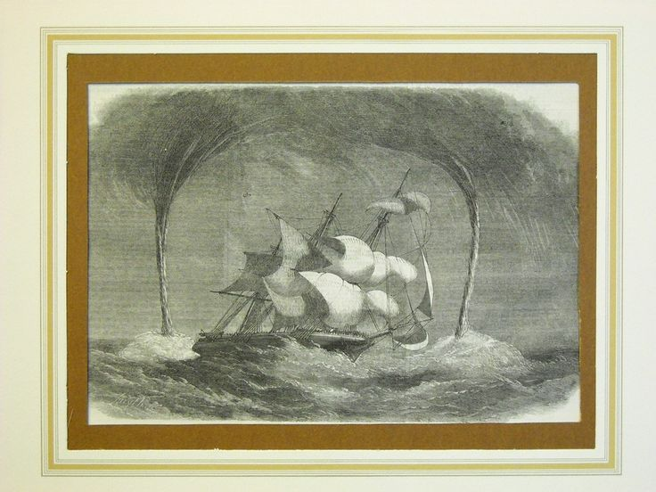 "Stampa antica di mare. - Antique barque print -1859  from"" The Illustrated London News""."