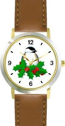 Black Capped Chickadee & Christmas Mistletoe - JP - WATCHBUDDY® DELUXE TWO-TONE THEME WATCH - Arabic Numbers - Brown Leather Strap-Size-Children's Size-Small ( Boy's Size & Girl's Size ) WatchBuddy. $49.95
