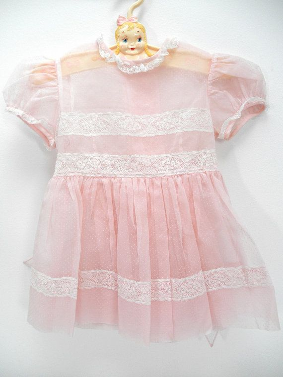 Vintage Baby Dress - Vintage Toddler Dress - Dotted Swiss Organza Baby Dress - 50s Girls Dress - Shabby Chic Home - Pink - Midcentury Child