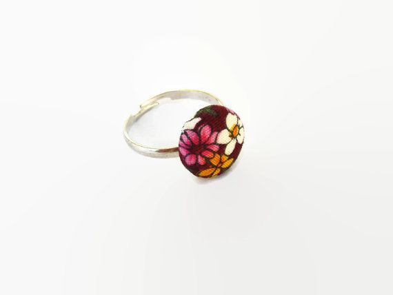 Floral Burgundy Adujstable Ring Small fabric Button by ScrapCati, $14.00