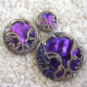 Set of 3 Art Nouveau Enamel Purple Shell French Buttons $38.50