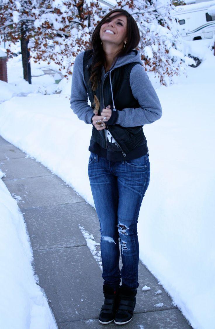 #hoodie , jeans, and sneaker wedges