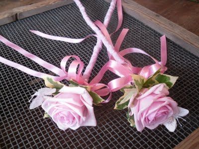 Pink rose flower wands for little bridesmaids