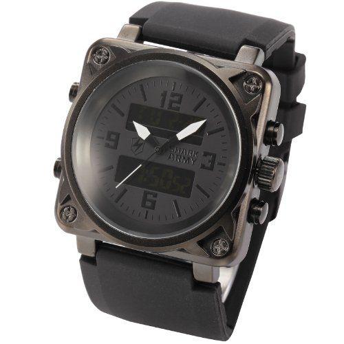 SHARK ARMY Herren Armbanduhr analog-digital Quarzuhr Gummi Armband SAW080 - http://on-line-kaufen.de/shark-3/shark-army-herren-armbanduhr-analog-digital