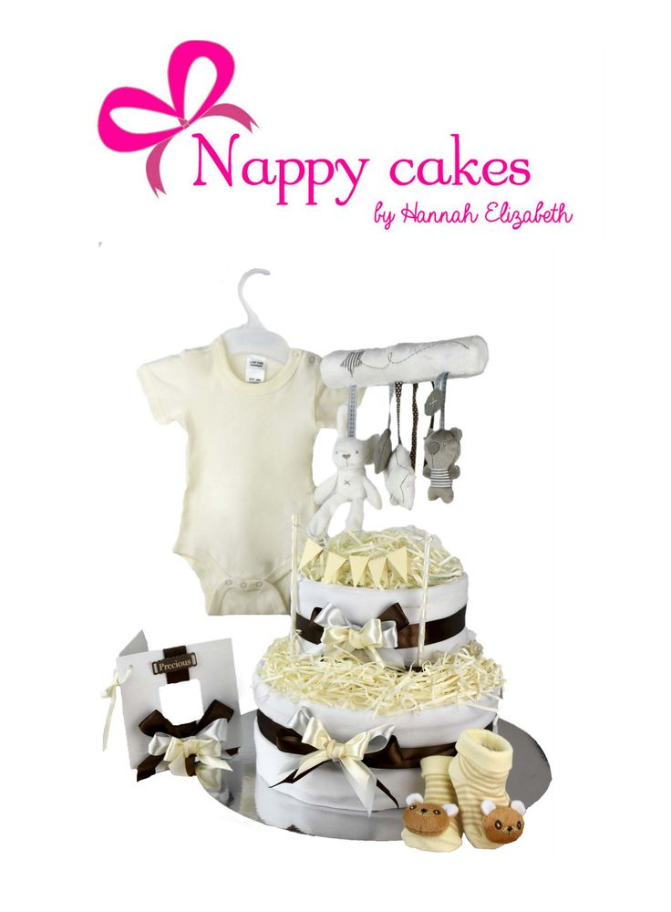 Neutral Nappy cake - Baby shower gift.  Neutral Unisex Nappy cakes are created for those surprise babies! Doesn't matter if its a boy or a girl, you will still give the ULTIMATE beautiful Baby gift.  http://www.nappycakesbyhannahelizabeth.com/apps/webstore/products/show/6308343