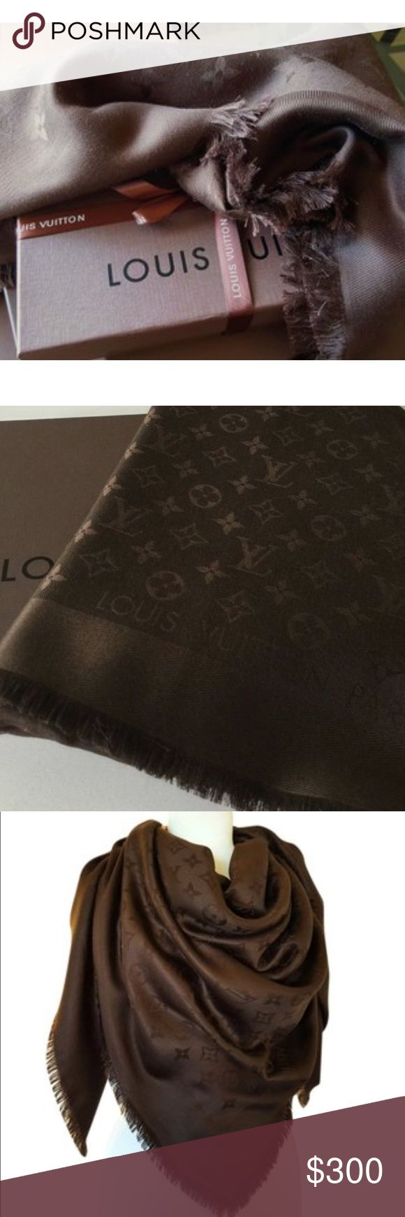Louis Vuitton Monogram Shine Shawl Louis Vuitton Monogram Shine Shawl in Chocolate Brown.            I bought this shawl many years ago from the Dallas store. I have worn it only one time to dinner. I'm still not sure if I want to sell it, but I may if someone is truly interested. Please ask any questions. No snags. Pet free smoke free home. Thank you💓 Comes with the original Louis Vuitton scarf box and tissue paper  if requested. Louis Vuitton Accessories Scarves & Wraps