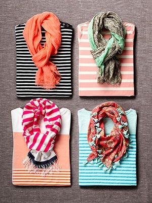 The Perfect Pair: Striped Tees & Scarves  Give your look a fun, spring-y hit of colorful prints, and warm up your neck: These winning fashion combos do it all. #NewRedbook (I like the top left)