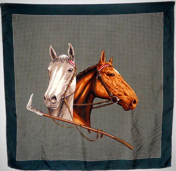 Women accessories  Shawl vintage Equestrian Italian Silk Scarf