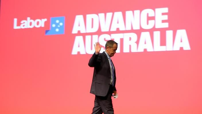 31 JUL 2015 - 2:07PM Leader of the Labor party Bill Shorten after addressing the audience on day two of the Australian Labor Party conference held at the Melbourne convention. Saturday, July 25, 20...