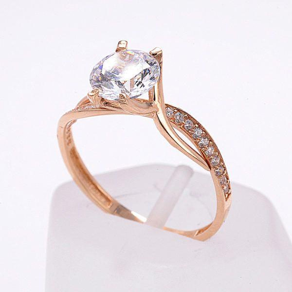 Μονόπετρο δαχτυλίδι ροζ  χρυσό Κ14 με ζιργκόν 8505