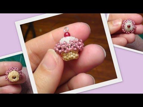 ▶ Beaded Cupcake 3D Beading Tutorial by HoneyBeads (Photo tutorial) - YouTube