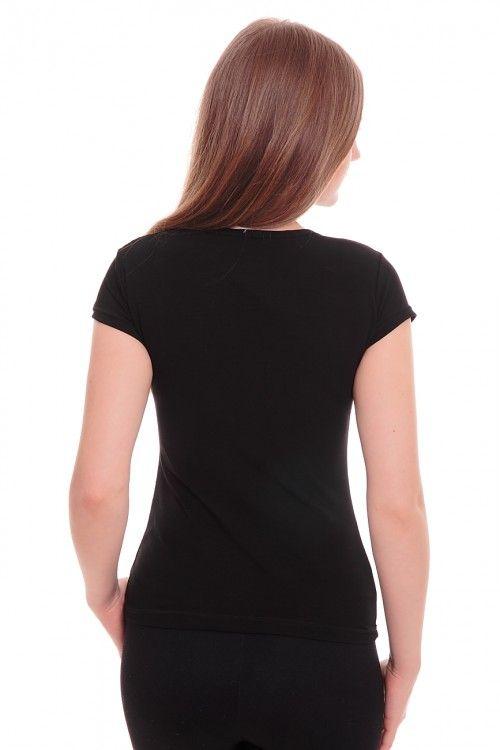 Футболка А5349 Размеры: 42,44,46 Цвет: черный Цена: 195 руб.  http://optom24.ru/futbolka-a5349/  #одежда #женщинам #футболки #оптом24