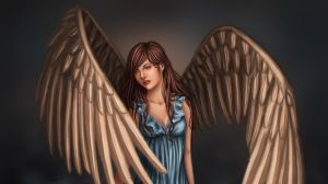 Preview wallpaper girl, wings, art, fantasy, water, dress 1366x768