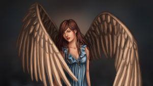Preview wallpaper girl, wings, art, fantasy, water, dress 1366x768