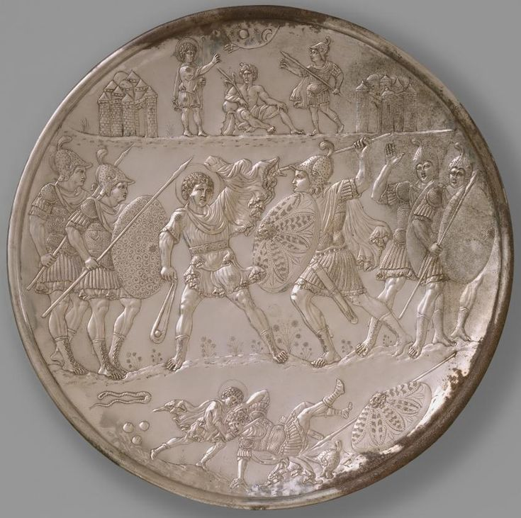 Battle of David and Goliath - Byzantine Plates - Herakleios, early 7th century