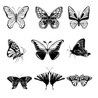 black and white downloadable art butterflies