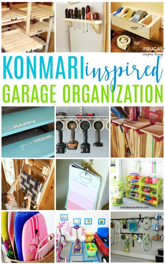 Easy Garage Storage Solutions will help you organize your home. InspiringKonMari methods to stage and tidy your outdoor space including garage hacks