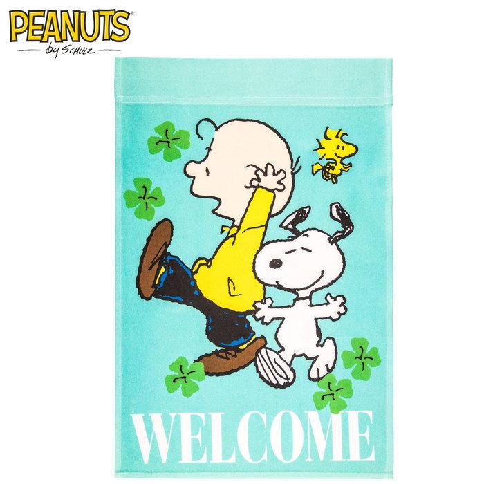 Peanuts Welcome Garden Flag With Shamrocks · Garden FlagsCharlie Brown Peanuts