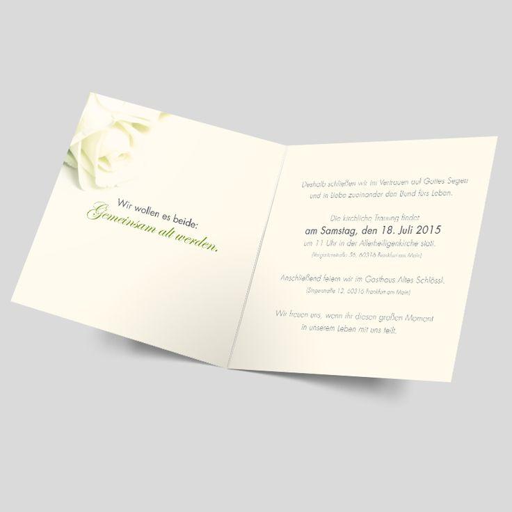 Florale Einladungskarten Zur Hochzeit Mit Weißer Rose Und Zart Grünen  Highlights. Diese Rosen Hochzeitseinladungen Sind Klassisch, Edel Und  Modern Zugleich.
