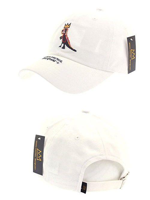 3d5f5fa9d98 Jean-Michel Basquiat Dinosaur Crown Baseball Cap Cotton Curved Hat (3.  White)