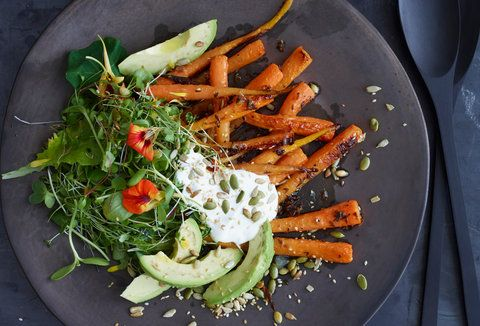 Carrot and Avocado Salad with Crunchy Seeds: Vegetarian Thanksgiving, Avocado Salads, Summer Salad Recipes, Healthy Salad, Roasted Carrots, Summer Salads, Healthy Food, Crunchi Seeds, Vegetarian Recipes