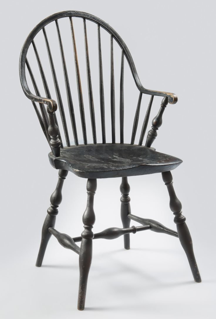 This israel sack american federal mahogany antique lolling arm chair - Black Painted Windsor Continuous Armchair With Rare Scrolled Arm Terminals Rhode Island Circa 1795
