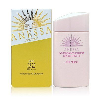 Shiseido Anessa Whitening UV Protector SPF32 PA+++ 60ml by Shiseido. $45.00. Whitening UV Protector SPF 32 PA+++. Suitable for face & body. Protects skin from UV rays. UV protector for daily use, to help prevent spots & freckles by reducing melanin production. Reduces melanin production to help prevent spots caused by the sun. Contains whitening ingredient m-tranexamic acid. Can be used as a pre-makeup base. Smoothes on easily maintaining dewy, supple skin without stick...
