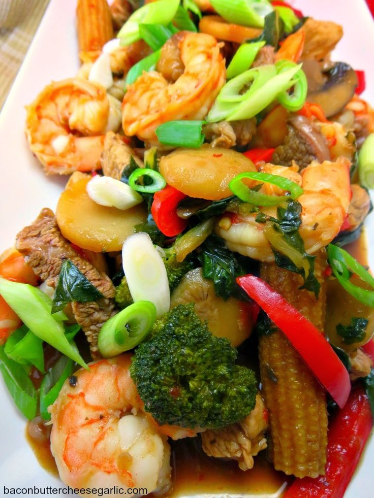 This is called Happy Family, which is a popular Chinese takeout dish.  Since it's made at home, you get a lot more bang for your buck!  And it's darn tasty!