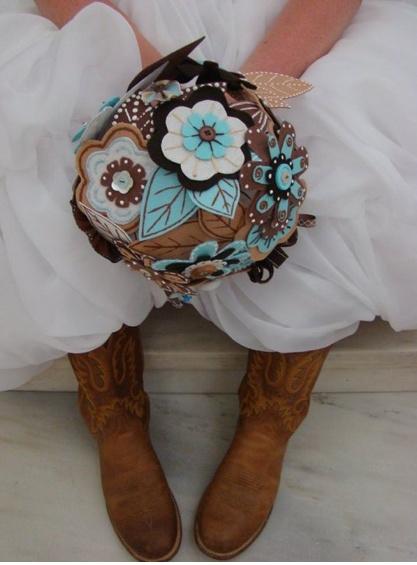 My wedding bouquet.  Felt, buttons, thread, and puff paint.