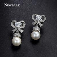 Newbark романтические полые серьги-бабочки в форме сердца AAA + циркон один имитация перл 18 К белый позолоченные женщины ювелирные изделия