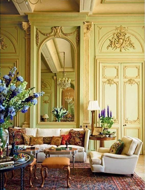 Habitually Chic®: Designer Timothy Corrigan's Chic Chateau in France... LOVE all the mouldings!