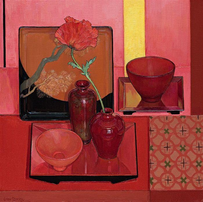 Red Still Life with Oriental Poppy