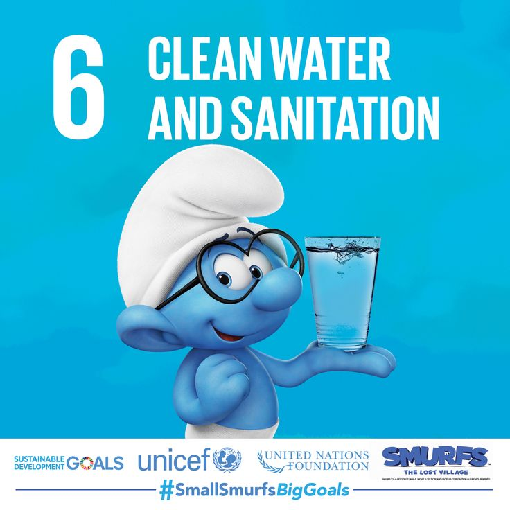 Not everyone has access to clean water and sanitation. Do your part by shortening your showers and not wasting water. To learn more, visit SmallSmurfsBigGoals.com  #SmallSmurfsBigGoals #TeamSmurfs