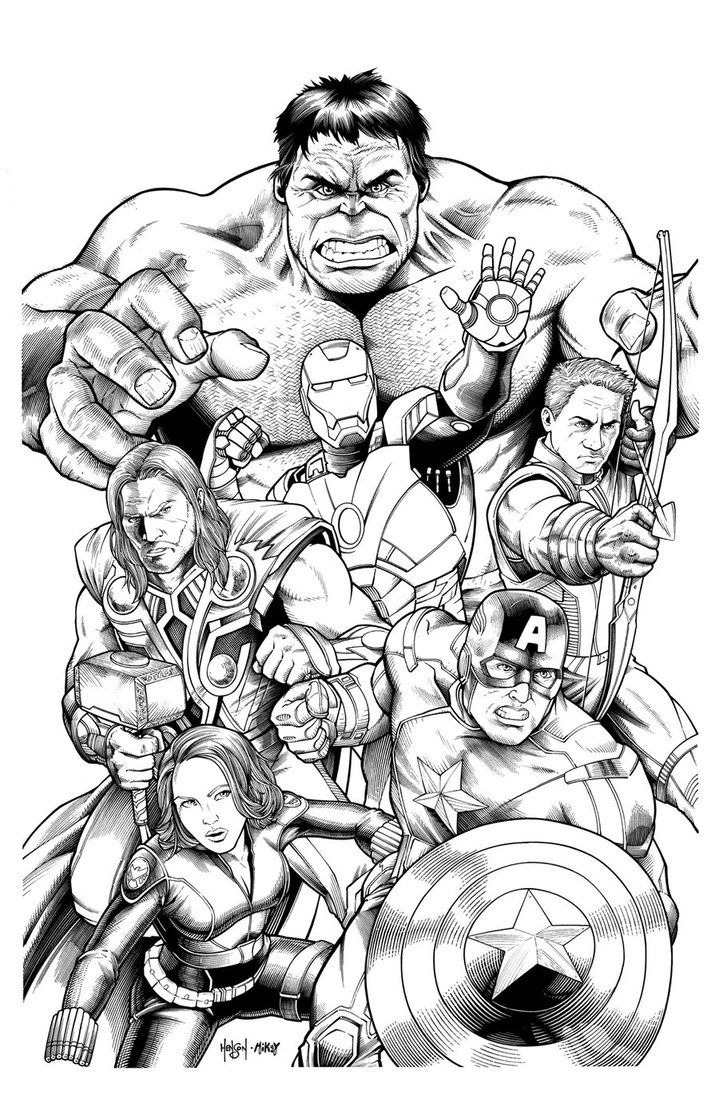 Avengers Team Coloring Pages : Famous characters comics avengers video games and comic