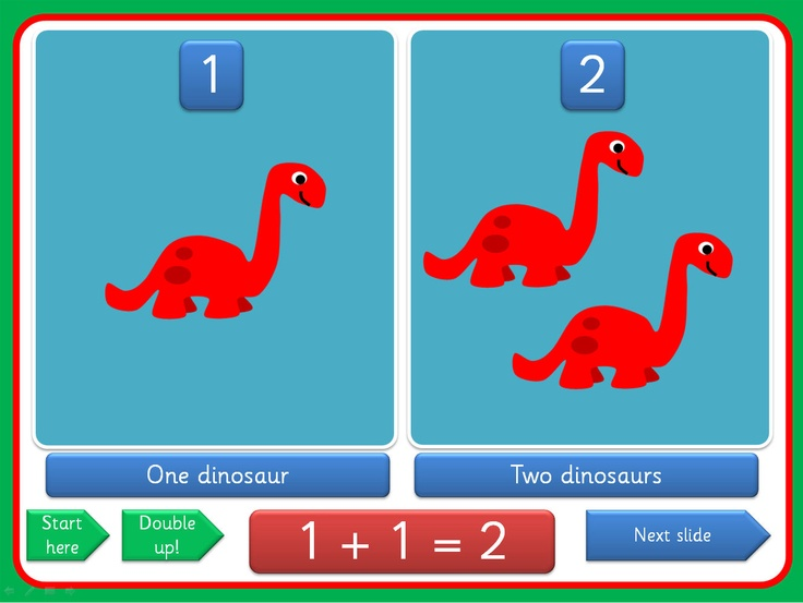 PowerPoint presentation, with a dinosaur theme, showing doubles for the numbers 1-5. Clearly laid out , the presentation uses triggers that enable you to move through the activity at your own pace, allowing lots of opportunity for mathematical discussion. The Sassoon versions have a embedded font while the Comic Sans version is editable.