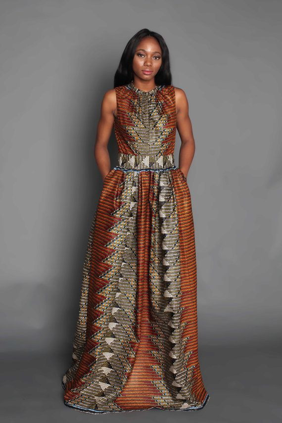 THE PAULINE Sleeveless Maxi Dress in Bronze African Prints, African fashion styles, African clothing, Nigerian style, Dashiki Dress, Ghanaian fashion, African women dresses, African Bags, African shoes, Kitenge, Gele, Nigerian fashion, Ankara Maxi Dress, African Fall Fashion, African Wedding