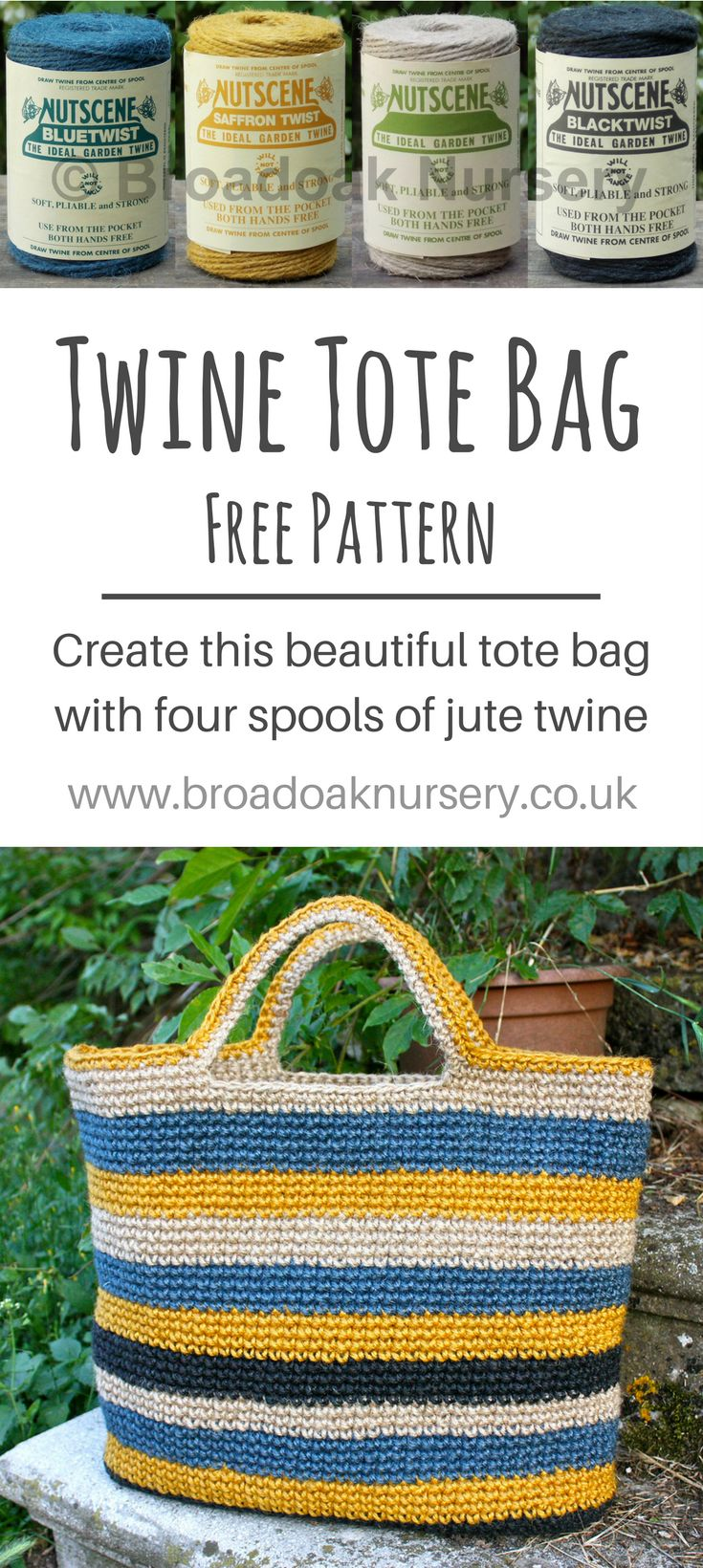 Create this beautiful tote bag with four spools of our jute twine and free crochet pattern...